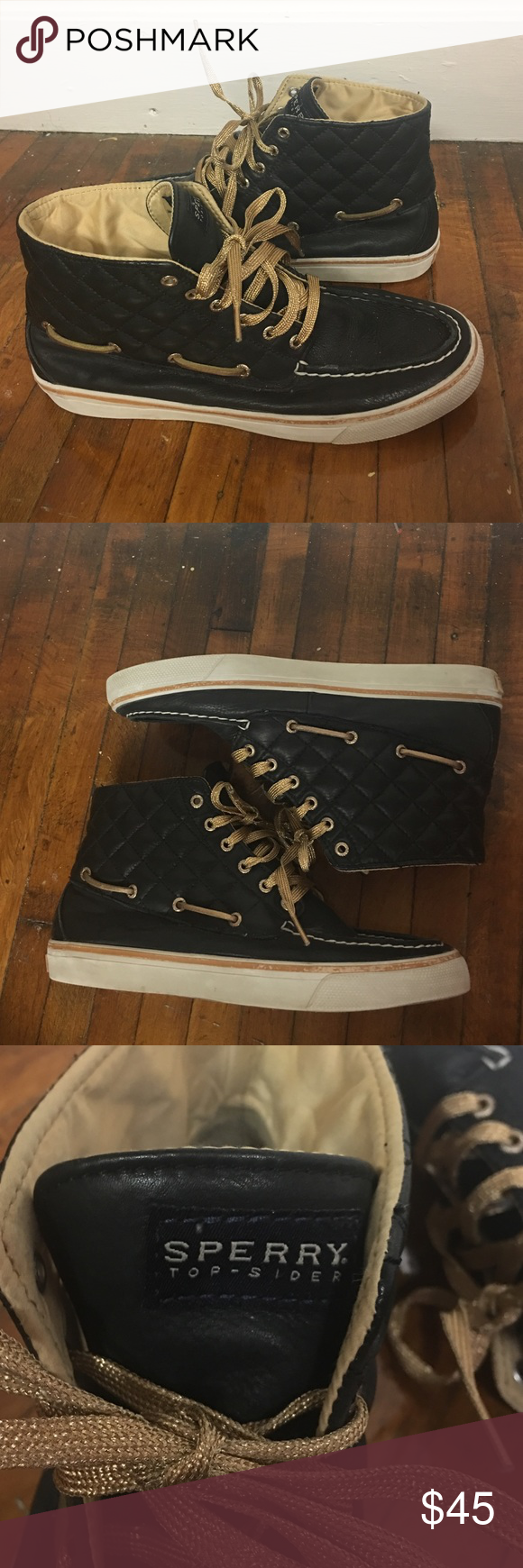 Sperry's High Top Sneakers - black and gold - 9M In great shape! Sperrys high tops with leather upper, gold accents Sperry Top-Sider Shoes Sneakers