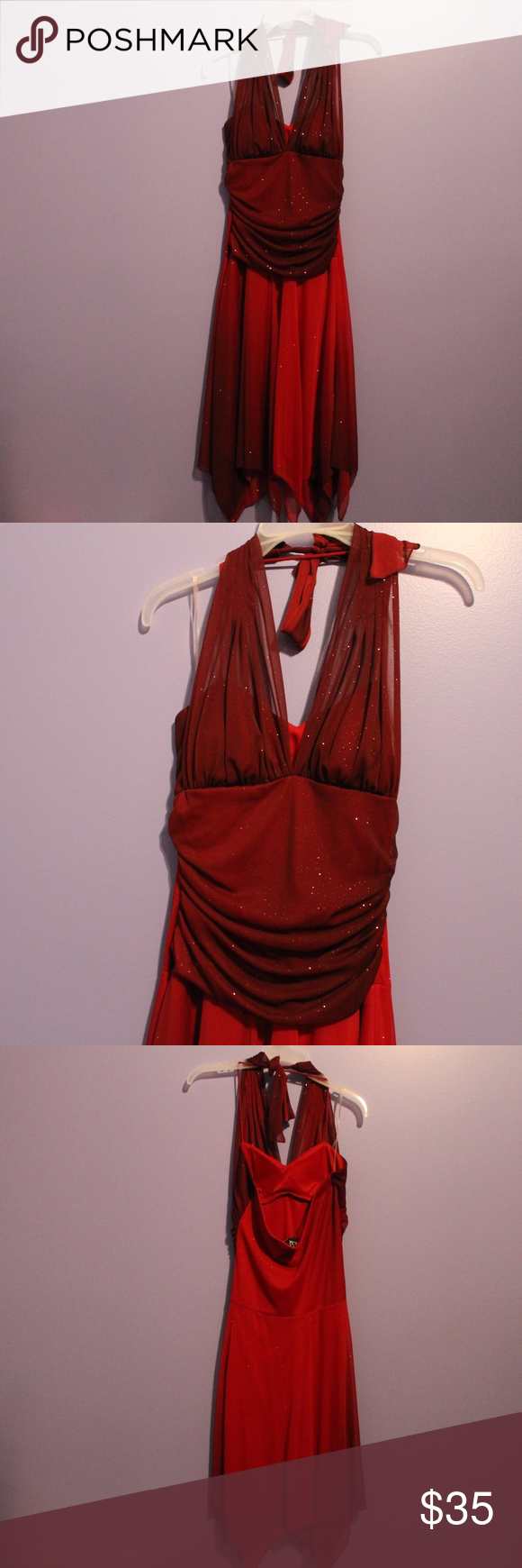 Maroon and red sparkling dress this dress has never been worn it is