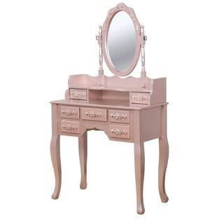 Photo of Silver Orchid Pontoppidan 2-piece Vanity Table and Stool Set