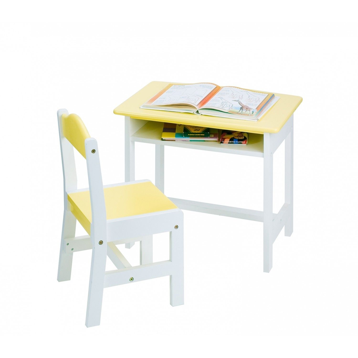 This Yellow desk study set makes homework more fun while the