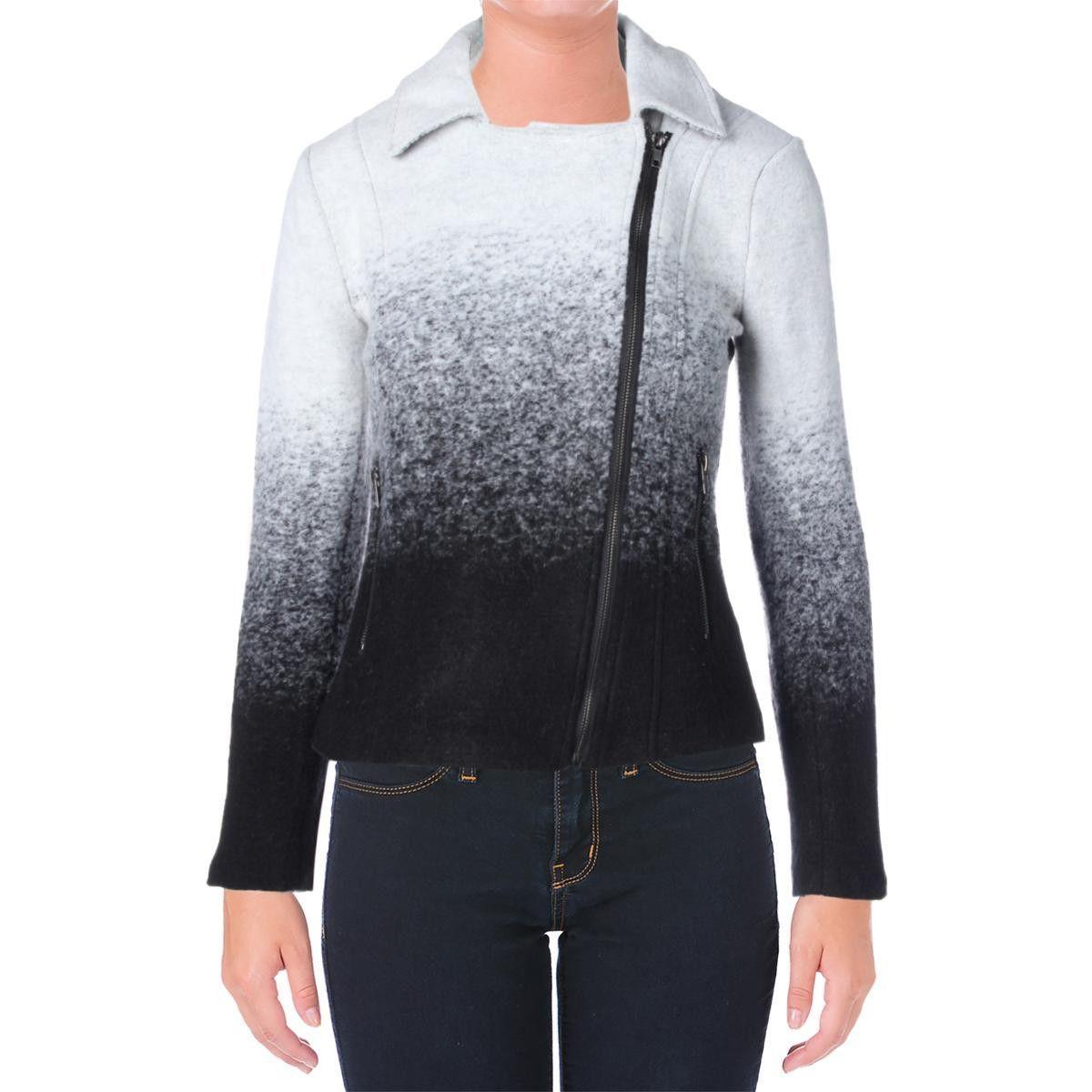 BB Dakota Womens Wool Blend Ombre Motorcycle Jacket
