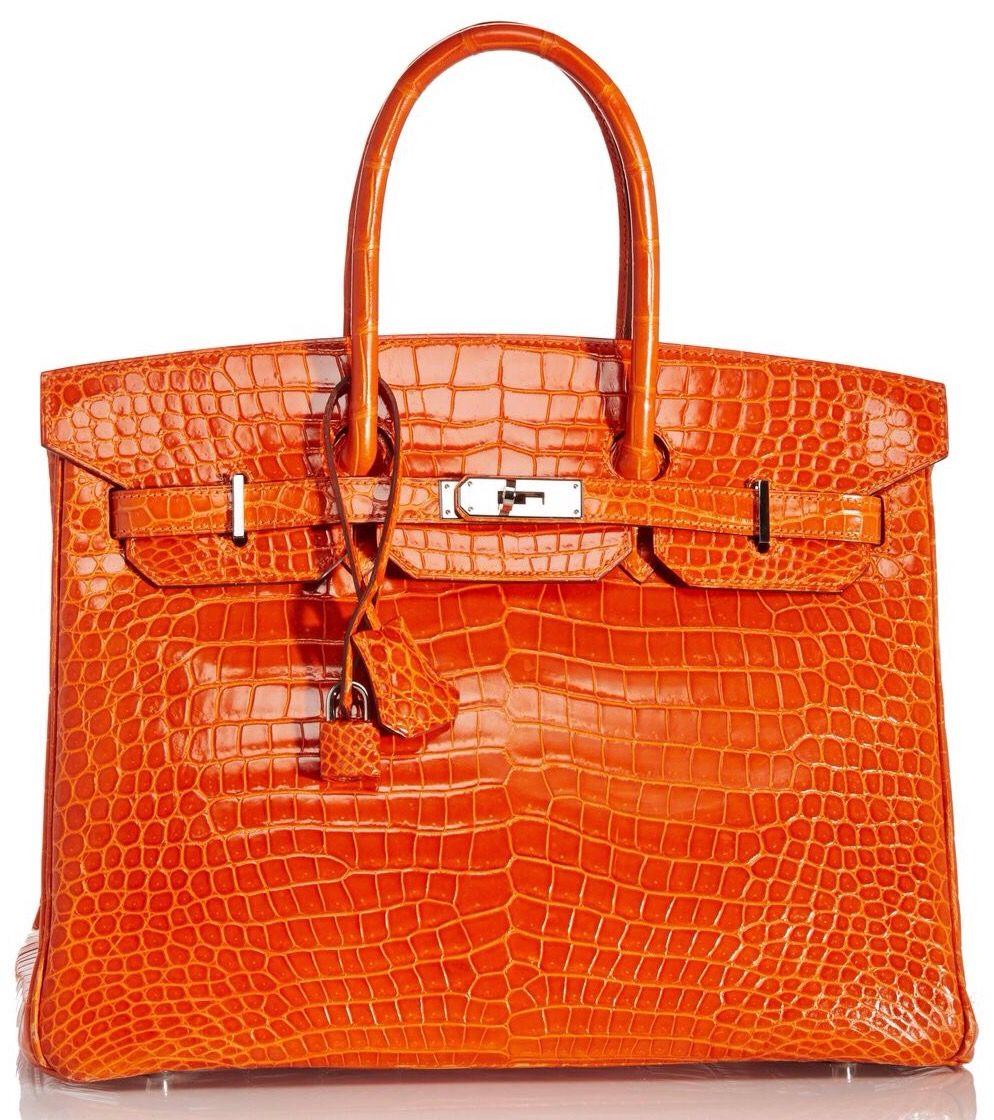 a2dfc0a95ae Hermes 35cm Orange H Porosus Crocodile Birkin   ORANGE...Mostly ...