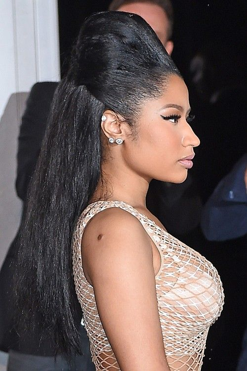 Nicki Minaj Straight Black Beehive Half Up Down Hairstyle