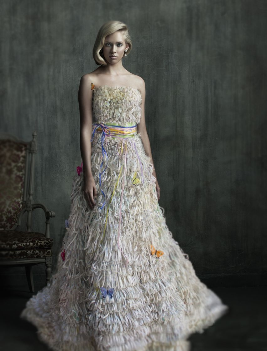 Paper wedding dress butterfly garden made from Wedding dress butterfly design