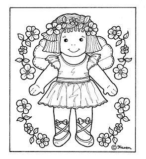 Karen`s Paper Dolls: Ditte Flower Fairy Postcard to Colour. Ditte Blomsterfe postkort til at farvelægge.