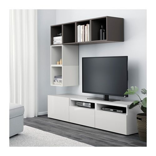 best eket combinaison rangement tv blanc brun noir brillant blanc glissiere tiroir. Black Bedroom Furniture Sets. Home Design Ideas