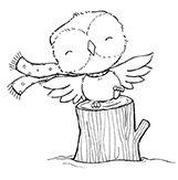 Stacey Yacula Studio - Flora (winter owl on tree stump ...