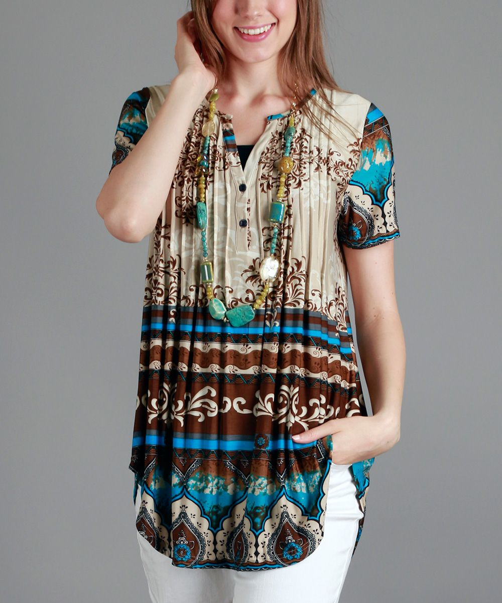 Blue & Brown Damask Pleated Short-Sleeve Tunic - Plus Too