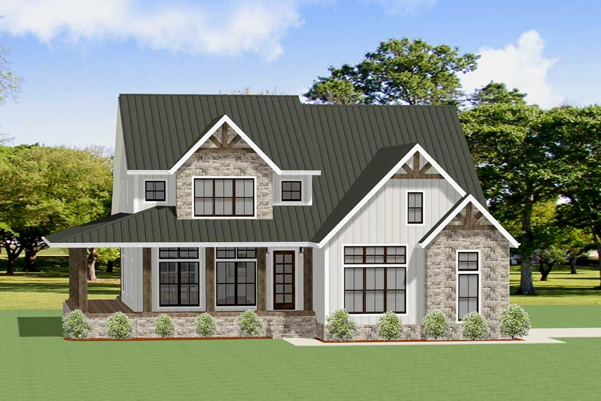 This striking 4 bedroom craftsman house plan features a stone and board and batten exterior eye catching metal roof wraparound covered front porch