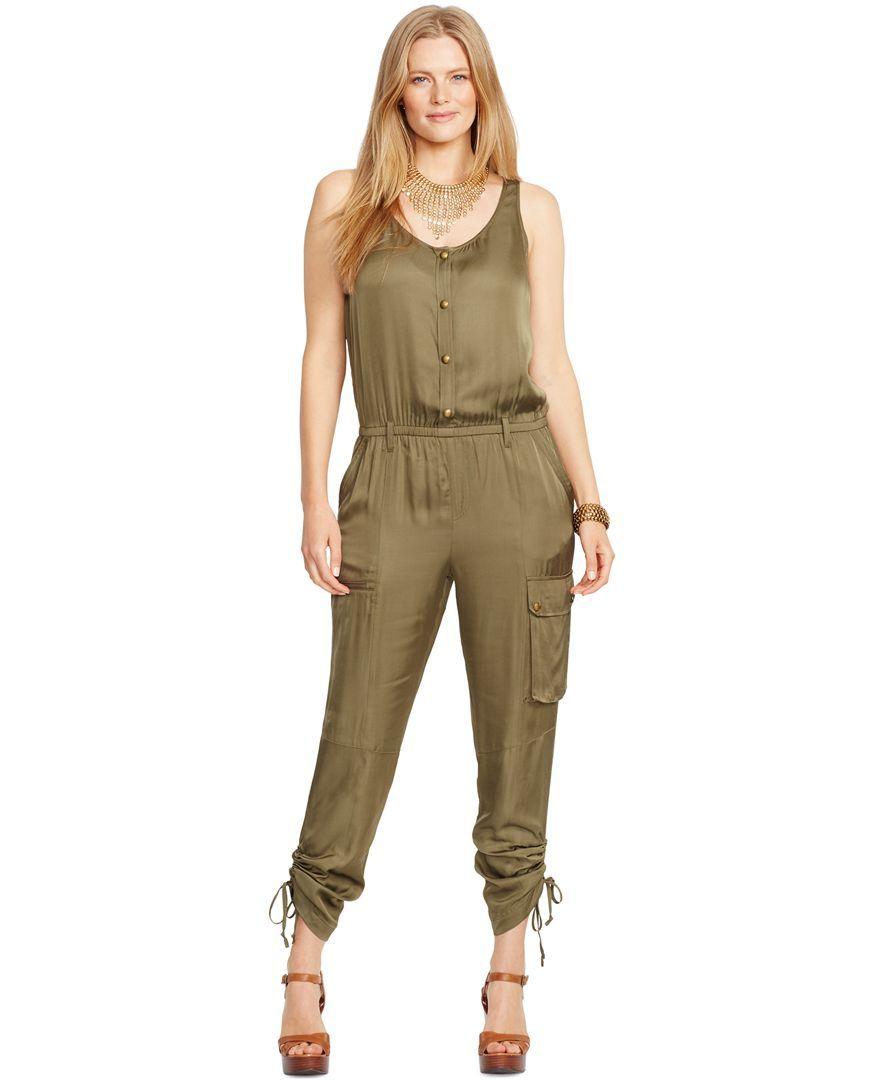 Lauren Ralph Lauren Plus Size Button Front Jumpsuit Fashsionistas