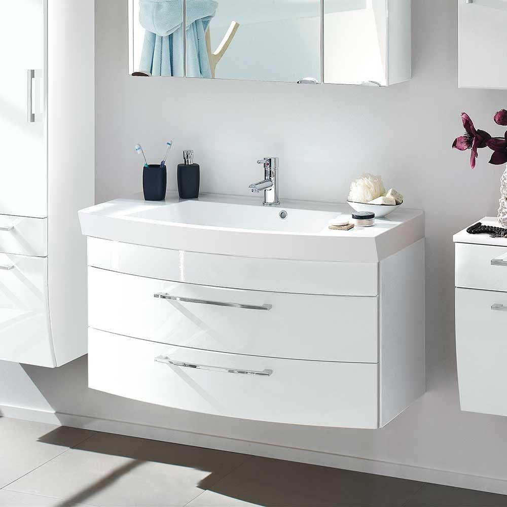 Schubladen Waschtisch Drovens In Weiss Hochglanz Pharao24 De Waschtisch Badgestaltung Badezimmer Waschbecken