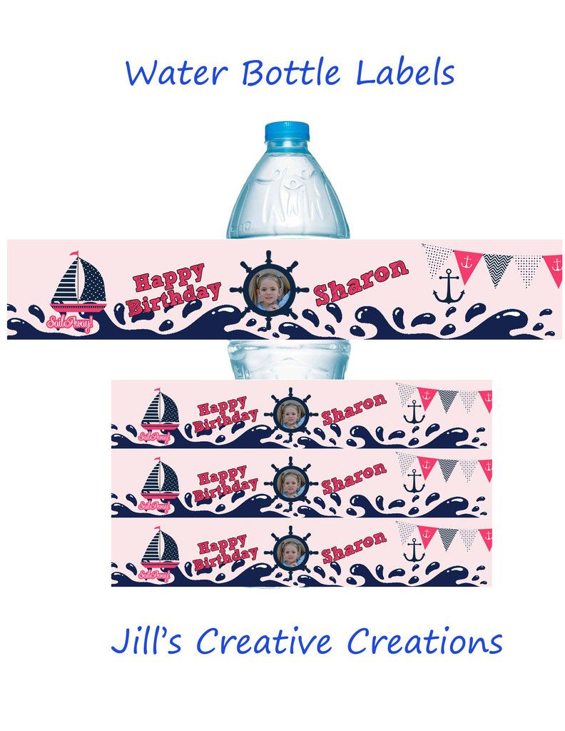 Nautical water bottle labels