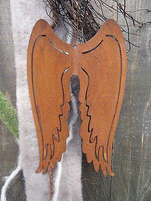 edelrost engelsfl gel gebogen winter rost weihnachten engel metall garten fl gel. Black Bedroom Furniture Sets. Home Design Ideas