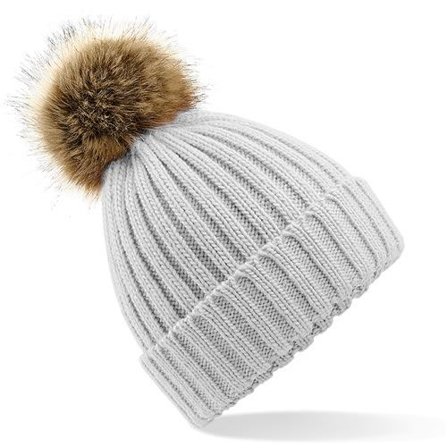 4c9c6b899d6 Faux Fur Large Pom Pom Hat - Pale Grey by Your Running Mate Gorgeous cosy  ribbed hat with large removable faux fur pom-pom.