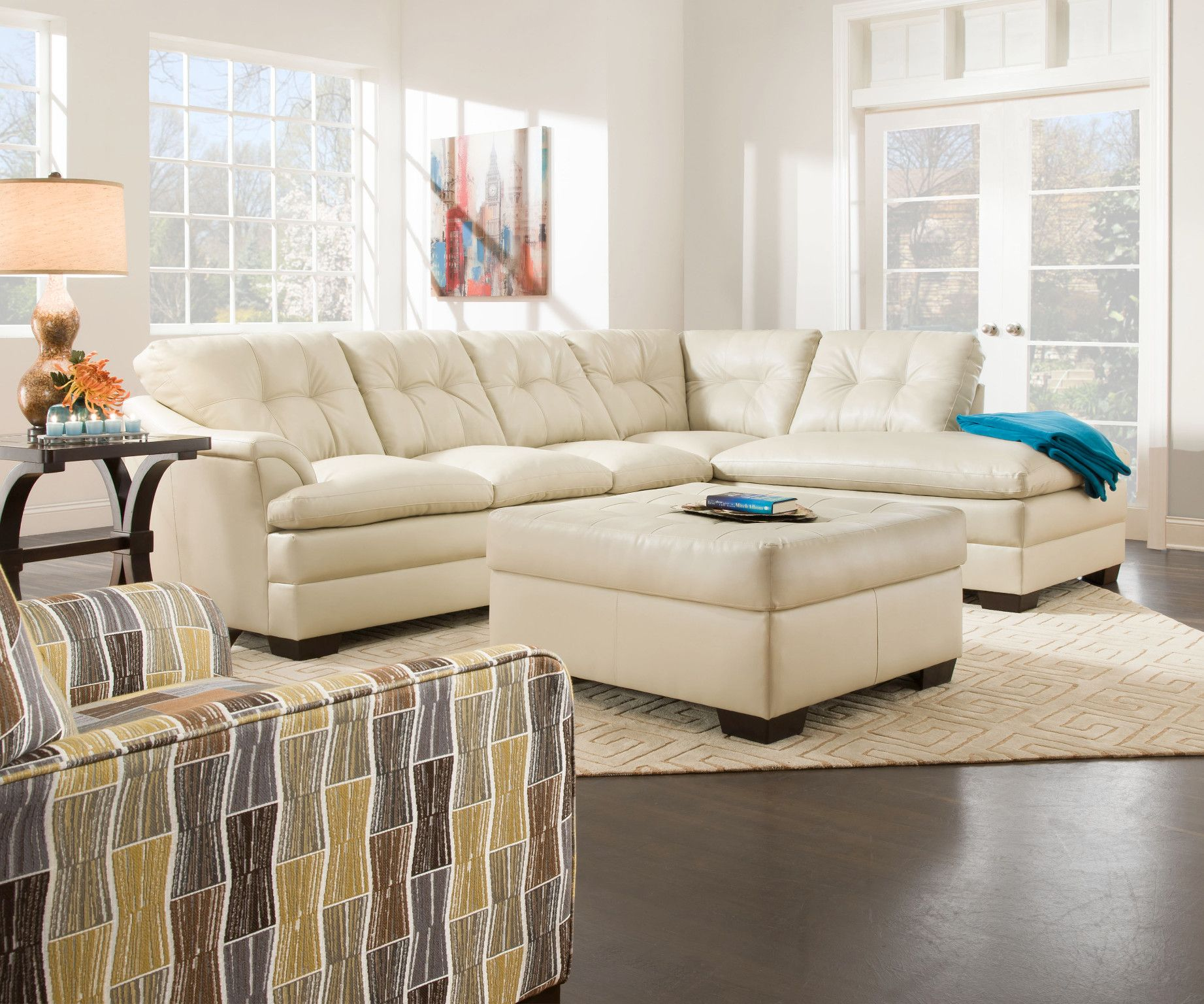 Apollo 2 Piece Sectional Sofa W Chaise Shown In Breathable Bone Bonded Leather Also Available In Grey Sectional Sofa Couch Sectional Sofa Sectional