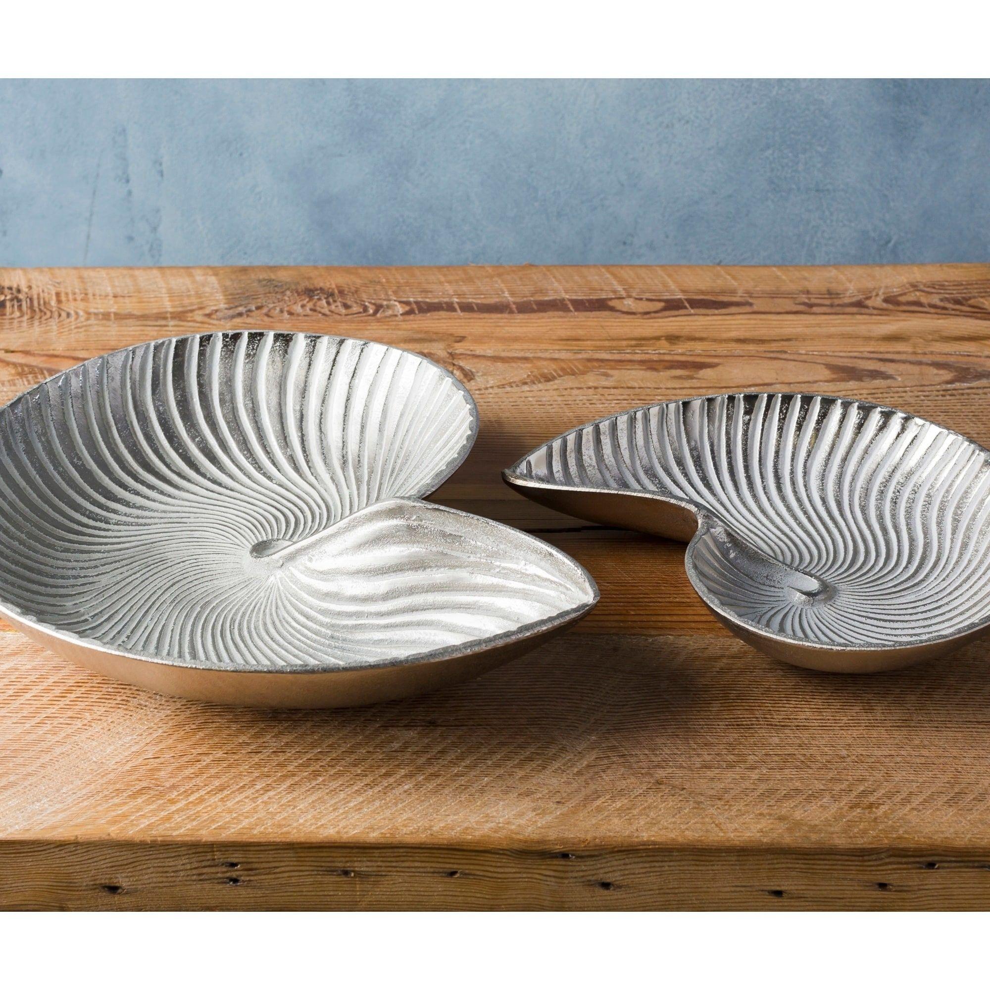 Anaiah Silver Coastal Decorative Tray (Set of 2) (Metal)