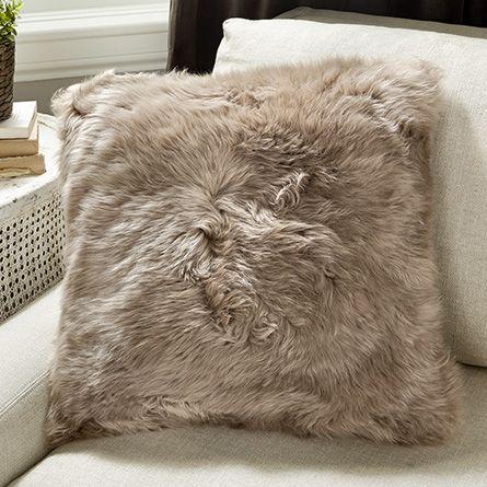 sheepskin cushions ultimate fur fibre by gray a wool auskin pillows linen long product steel pillow