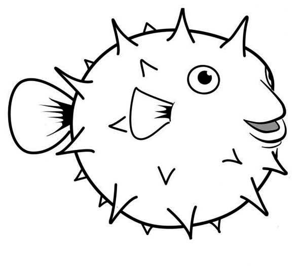 Puffer Fish, : Happy Globefish Puffer Fish Coloring Page ...