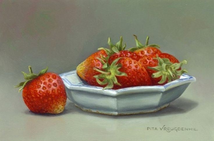 Pita Vreugdenhil ( b.1945) — Still Life with Strawberries (736×484)