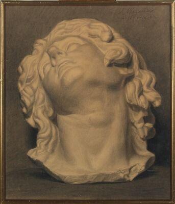 SOLGT. Einar Wegener: To akademistudier af antikke buster. Sign. Wegener. Kul på…