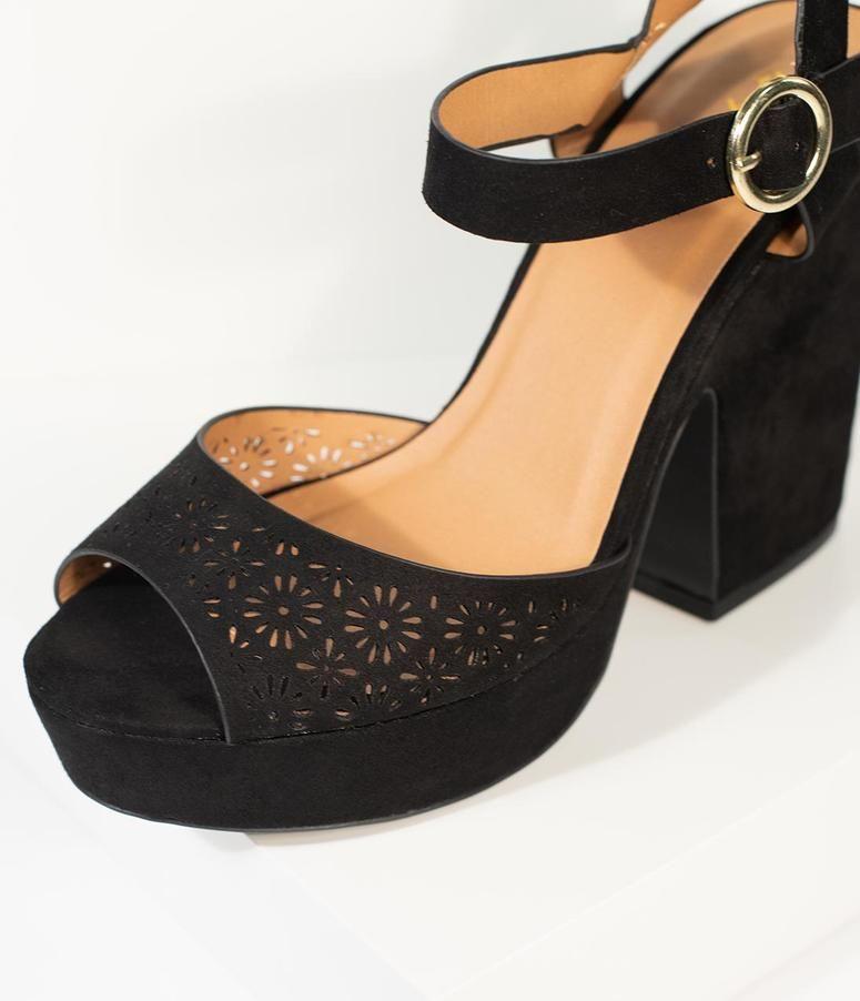 d0da229763cc Vintage Style Black Suede Cutout Peep Toe Platform Chunky Heels in ...