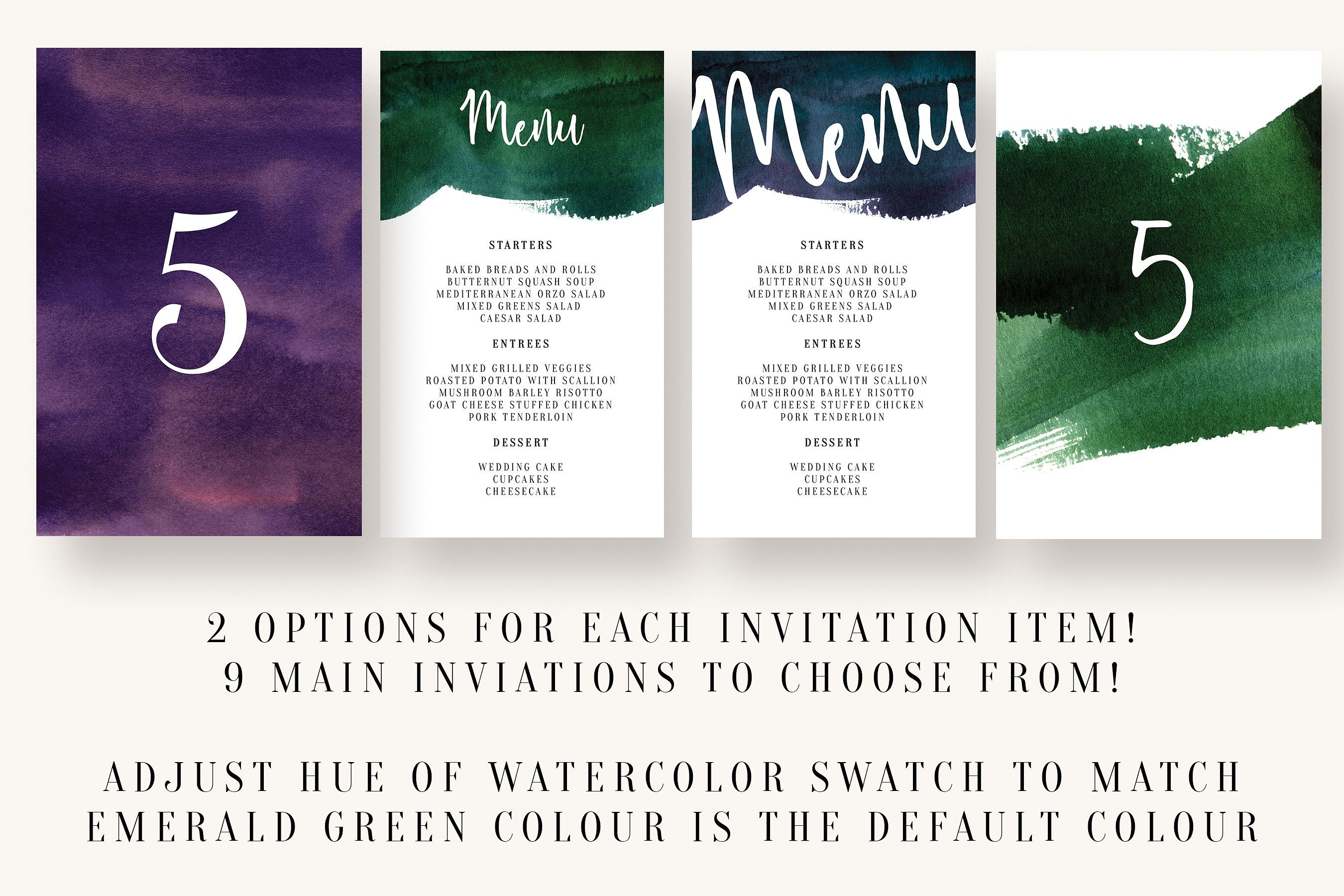 Watercolor Invitation Collection Modified Colour Changing