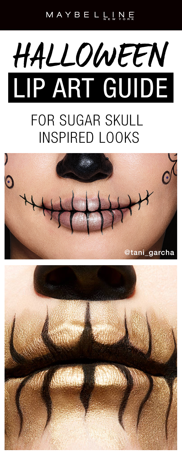 Want an easy last minute Halloween makeup look? Try these sugar skull inspired Halloween looks using just two products: eyeliner and lipstick! Click through to see more Halloween makeup inspiration!