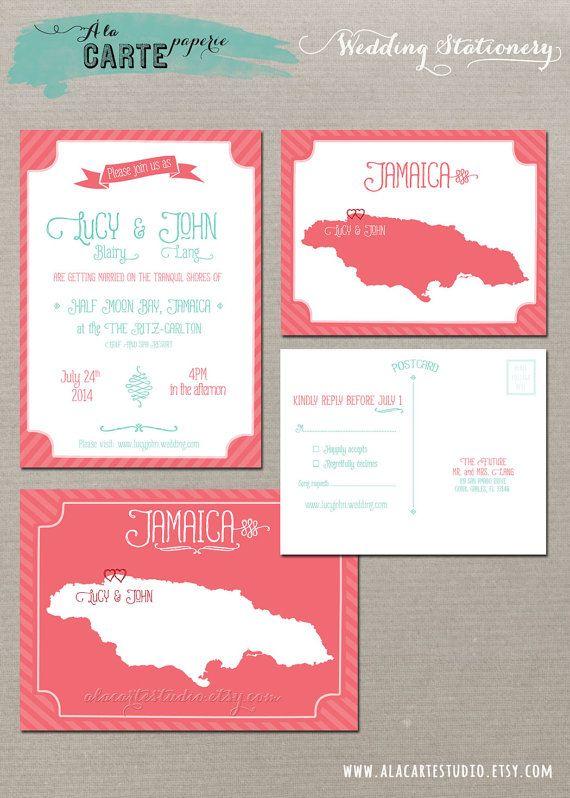 Coral Reef Beach Destination Wedding Invitation And RSVP Cards
