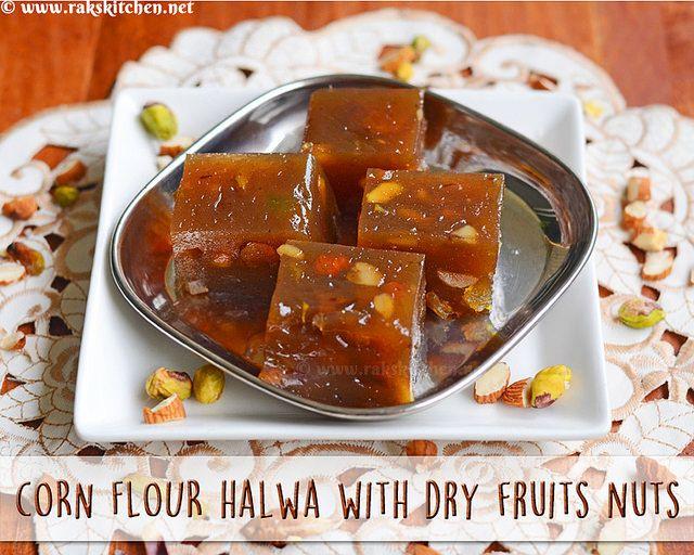 dry fruits nuts corn flour halwa recipe raks kitchen recipe in 2020 dried fruit recipes on hebbar s kitchen halwa id=89131