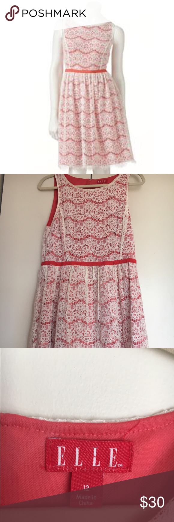 Elle coral dress with lace overlay Beautifully pretty coral dress with classic lace overlay. Perfect for casual wear and formal wear. Worn a few times but in great condition! Perfectly paired with my Elle coral blazer. Elle Dresses Midi