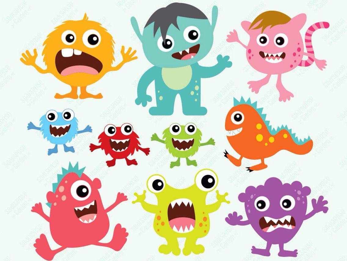 Cute Monsters Cute Monsters Cartoon Silhouette Doodle Monster