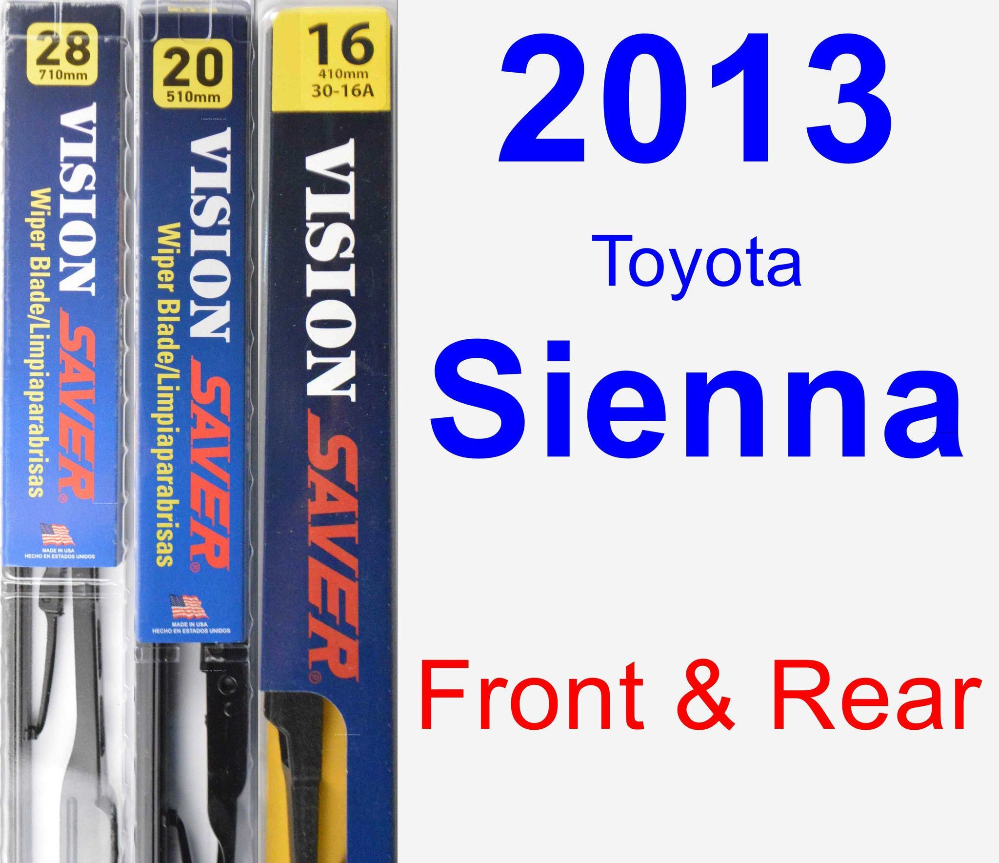 Front rear wiper blade pack for 2013 toyota sienna vision saver