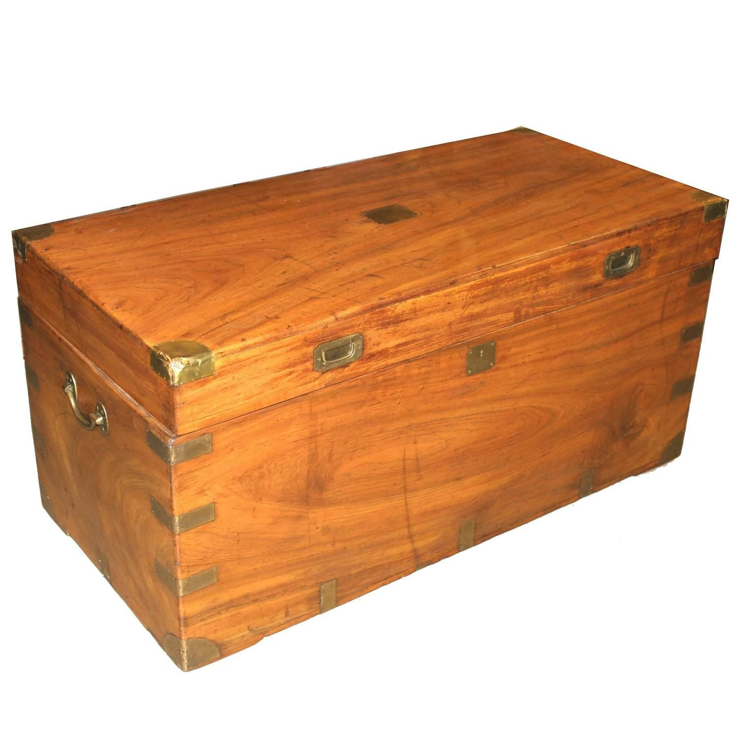 China trade camphor wood trunk or campaign chest circa wood