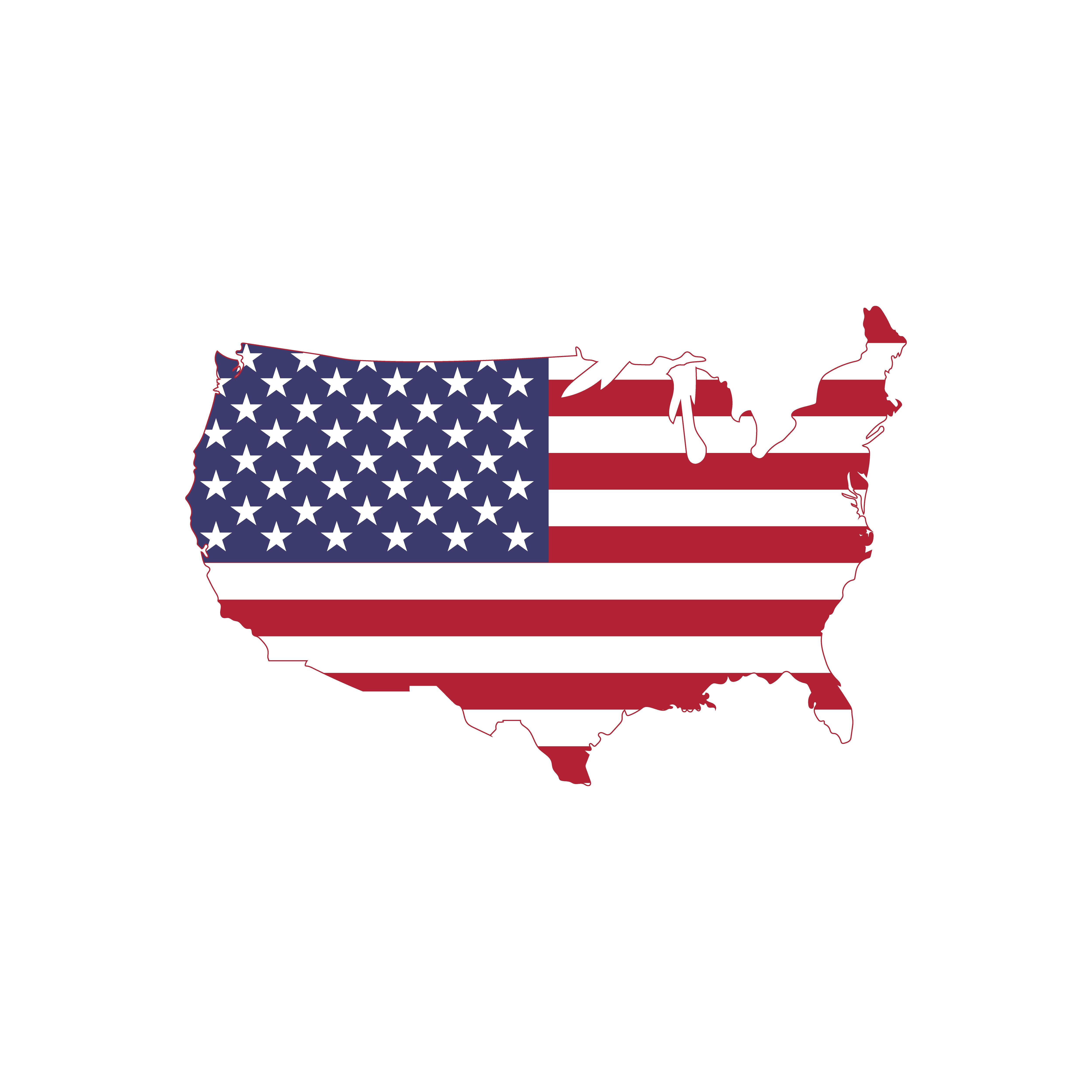 American Flag Vector On American Map Usa Map With Flag By Linimasa