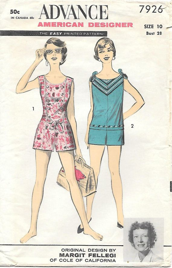 Advance 7926-1950s Womens Romper and Playsuit Vintage Sewing Pattern ...