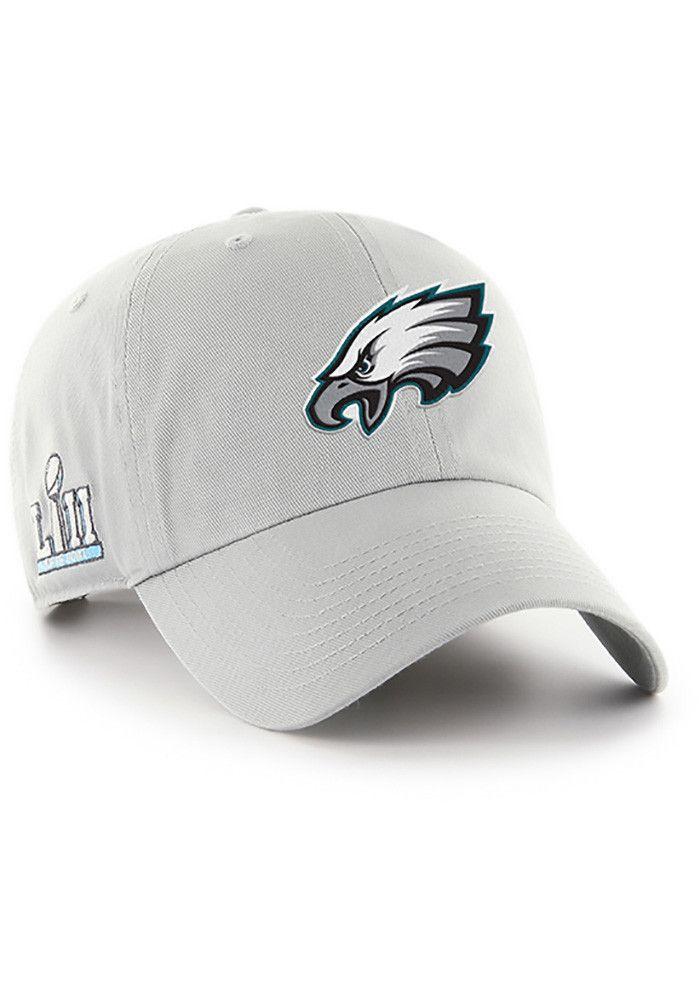 99cb0e24008  47 Philadelphia Eagles Mens Grey 2018 SB LII Team ID Clean Up Adjustable  Hat