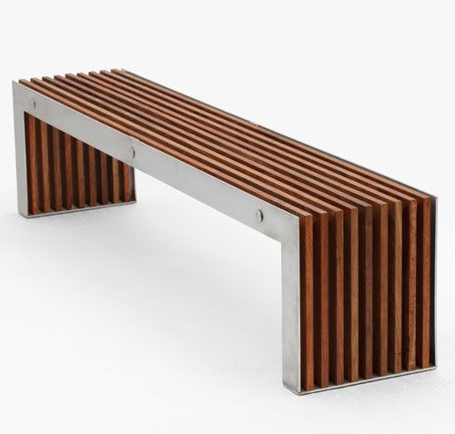 Timber and stainless steel bench - Obbligato