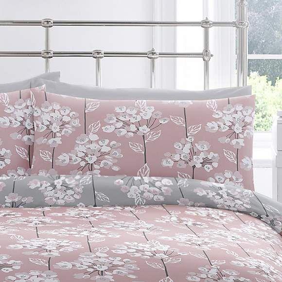 Erin Blush Grey Reversible Duvet, Blush Pink And Grey Bedding Dunelm