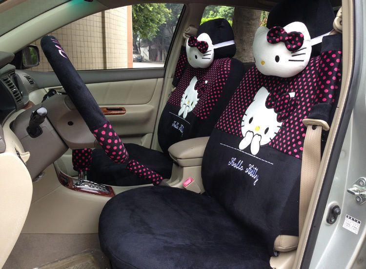 18 Piece Deep Pink Polka Dot Hello Kitty Car Seat Covers