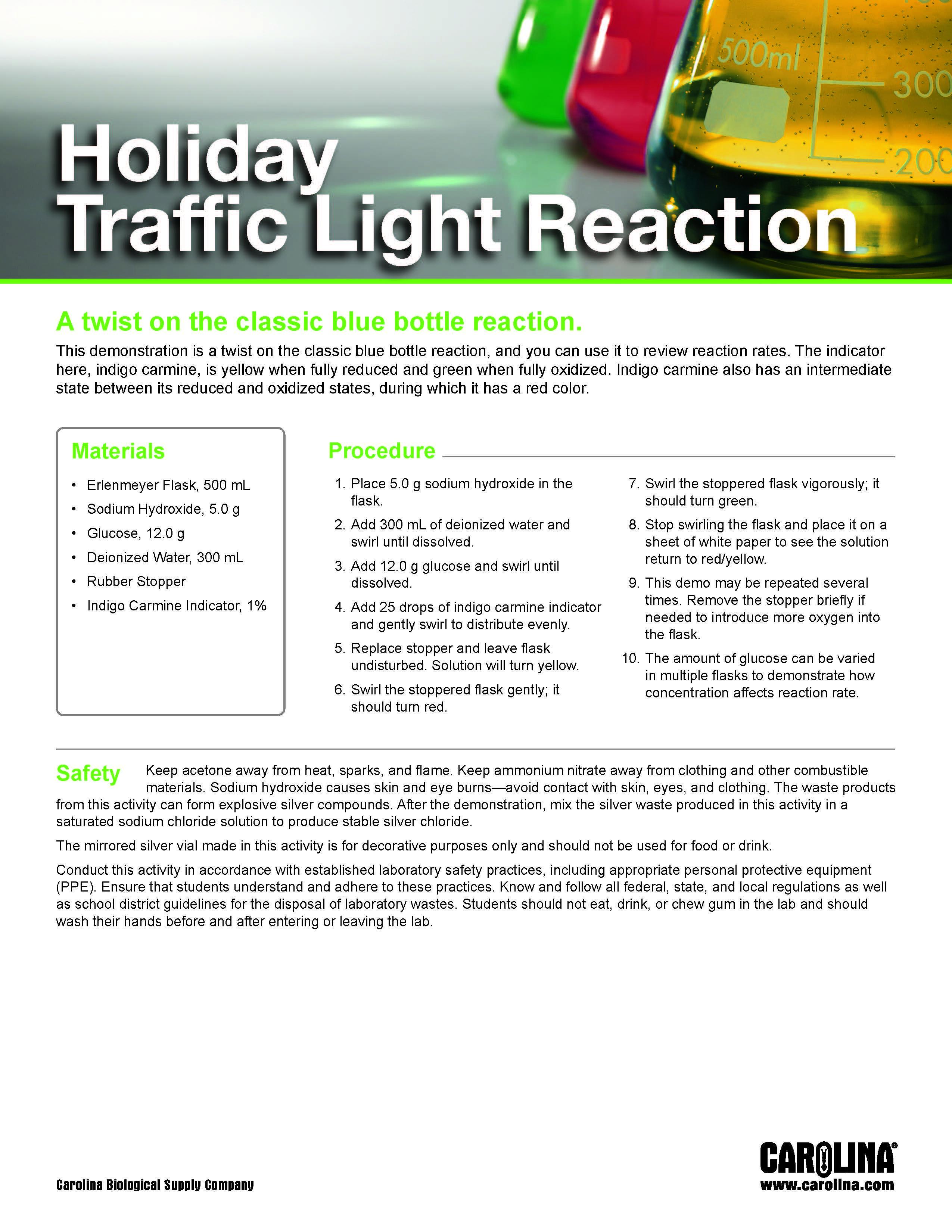 Holiday Traffic Light Reaction Activity