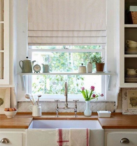 Kitchen Without Window: Faux Roman Shade Gray/ Ivory Ticking Stripe Lined Mock
