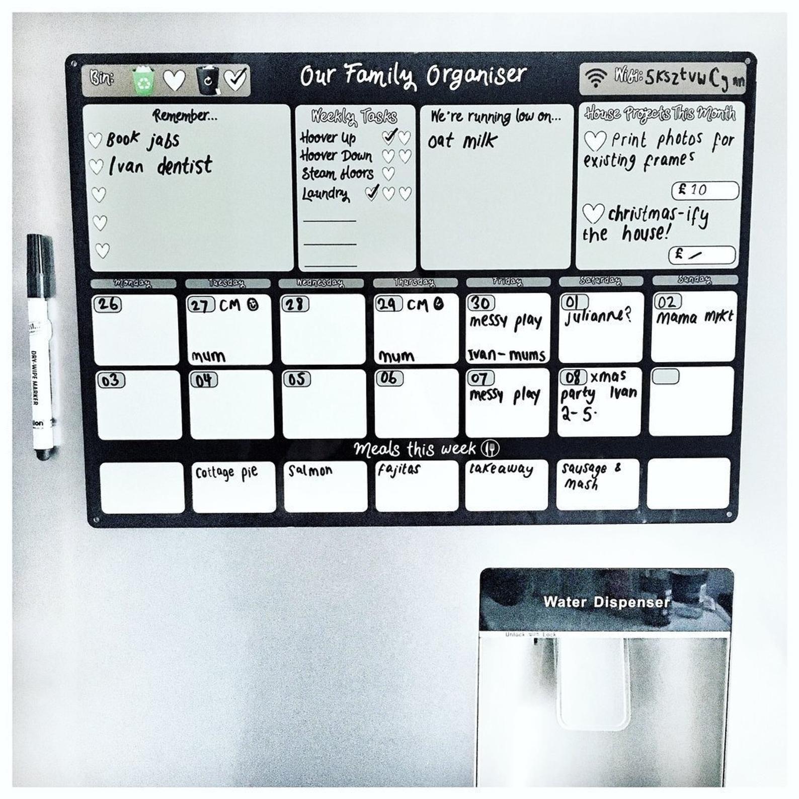 Message and bulletin board ChalkBoard White Board Calendar Home Organizer FREE SHIPPING Black Board Wall Organizer Marker board