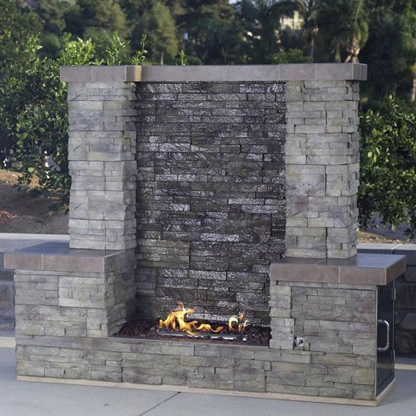Bull Acqua Firewall Outdoor Gas Fireplace Waterfall