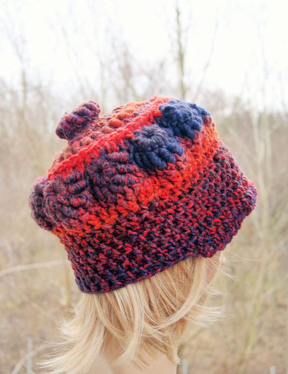 Textured hat, freeform crochet Asymmetric hat, retro hat, convex ...