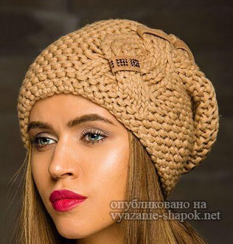 шапка выпуклыми косами спицами 4 идеи со схемами вязания вязание