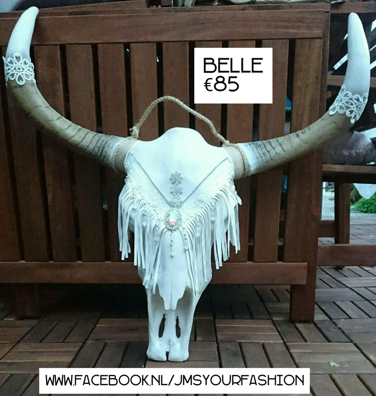 Ibiza Skull Belle Ibizastyle Ibiza Skull Buffel Schedel Franje Wit Cow Skull Decor Cow Skull Art Painted Cow Skulls