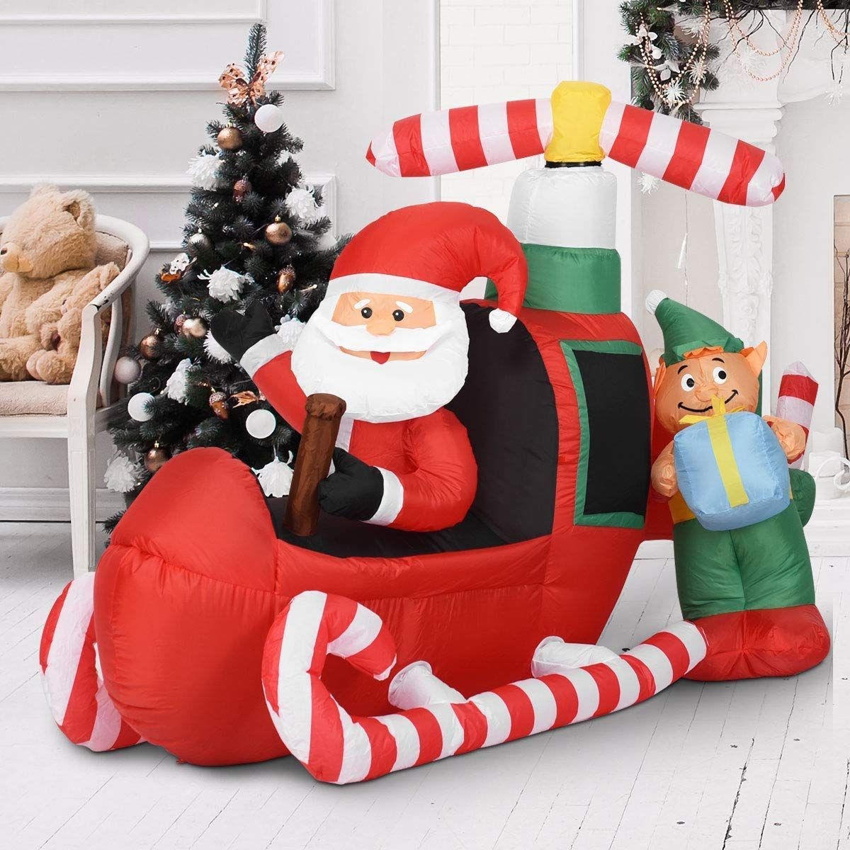 7 FT LIGHTED SANTA IN DEER STAND CHRISTMAS AIRBLOWN INFLATABLE YARD DECOR