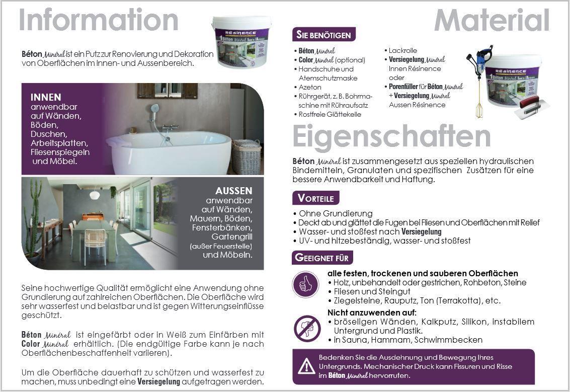 Fugenlose Designer Spachtelmasse Beton Mineral Resinence Mit Bildern Betonfarbe Fugenlose Dusche Spachtel