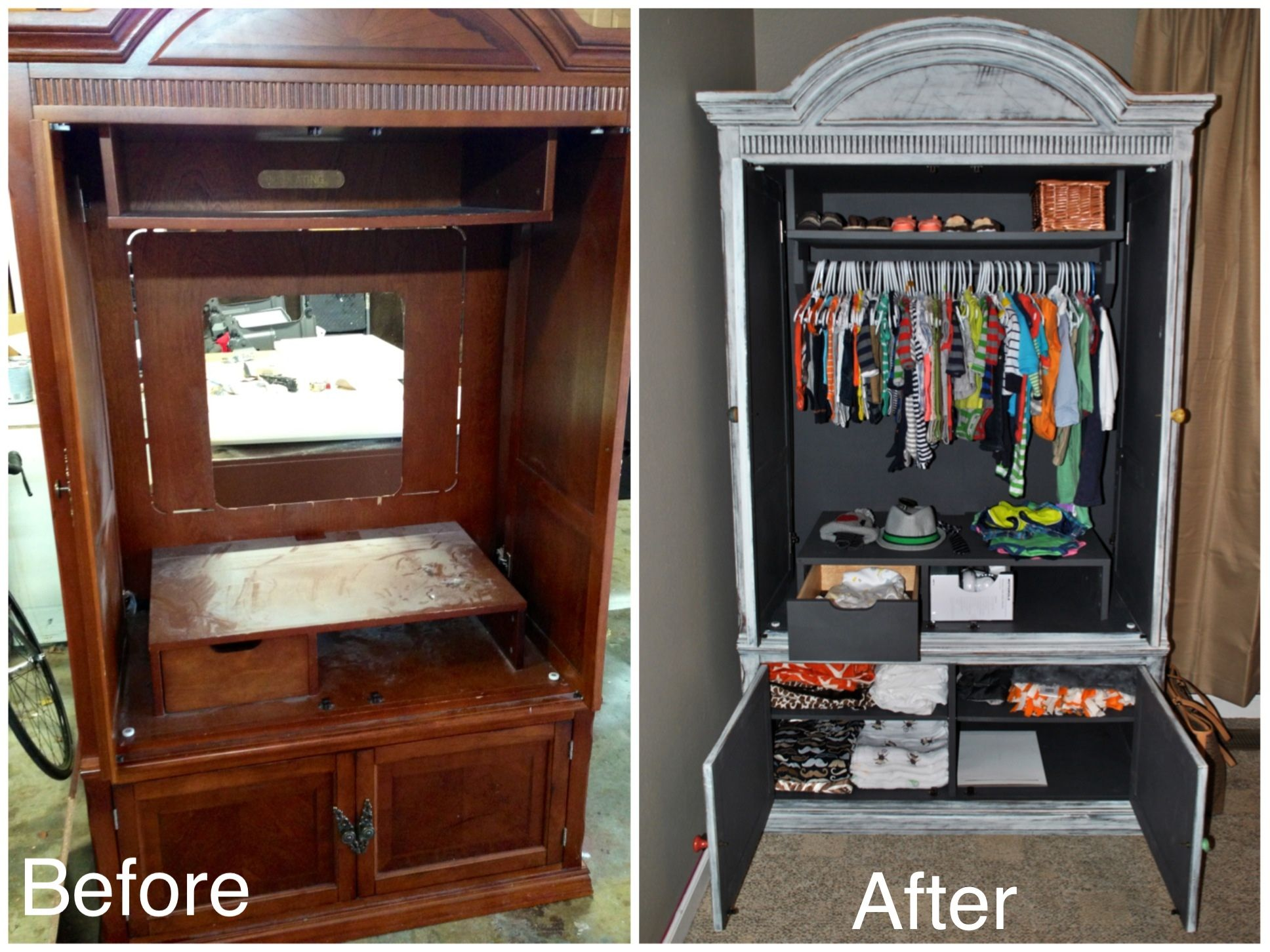 repurposed refinished tv armoire for baby s clothes