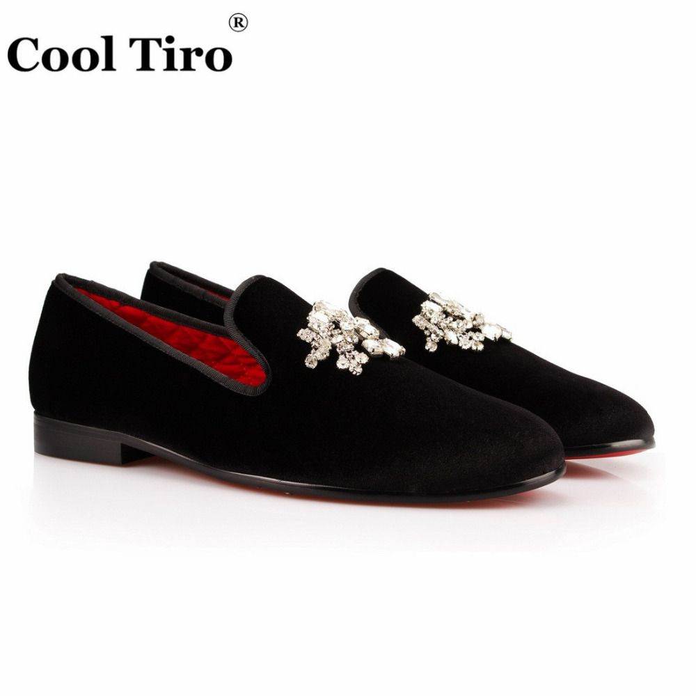 168562ceb9b   38% Off   COOL TIRO men loafers Top Quality Red Bottom Black velvet Shoes  Fashion Diamond tassel Casual Dress Shoes Men Flats